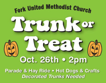 Banner announcing a trunk-or-treat event at FUMC