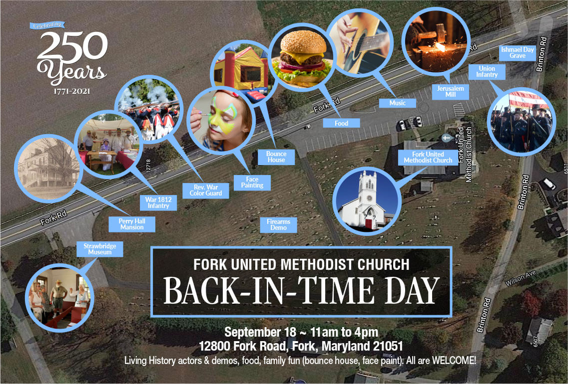 Fork United Methodist Church Back In Time Day vendor and attraction locations